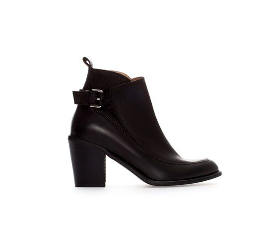 Image 1 of HIGH HEEL LEATHER ANKLE BOOT WITH BUCKLE from Zara