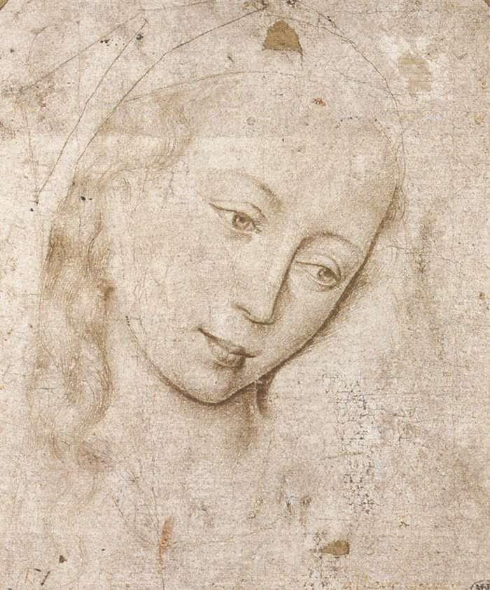 Study, Head of The Madonna, Rogier Van Der Weyden. Flamesh ( ca 1400 – 1464)