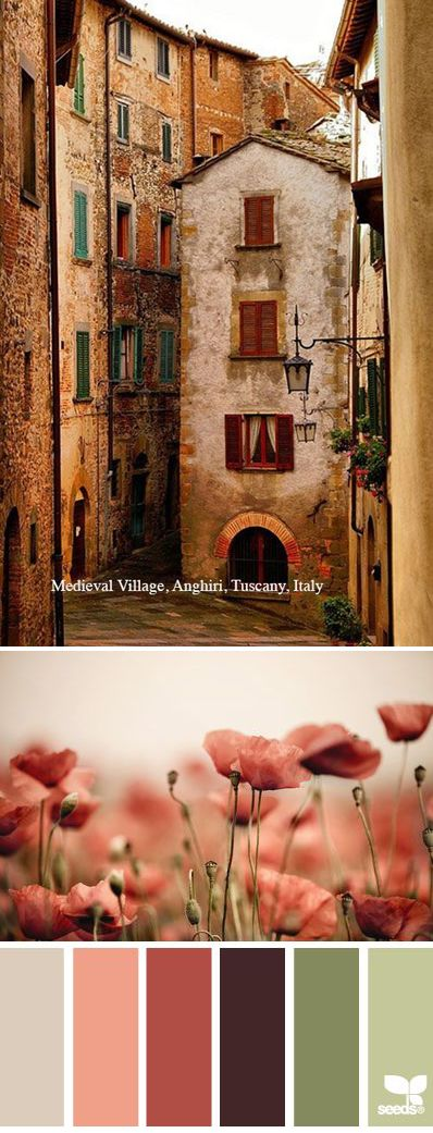 Muted Tuscan Decorating Colors ~ Anghiri, Tuscany, Italy.. See our large selection of wide framed wall art in Tuscan decorating colors at accentsofsalado.com