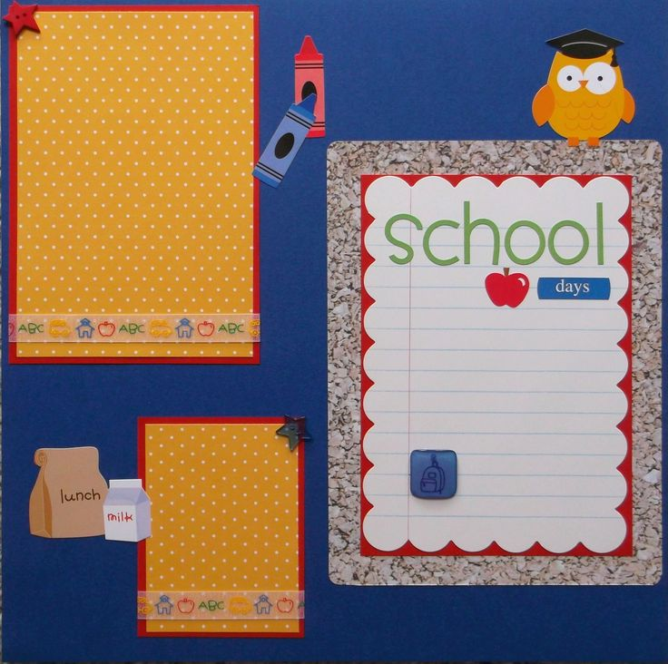 School Days Back to School (2) scrapbook pages premade 12x12. Ready for your photos, which slip under 3D embellishments and graphic ribbons. Designed from cardstock, ribbon, tokens, 3D stars, chipboard frame, and die cut stickers. Includes mat for wallet sized photo. Acid free materials were used to preserve. Shipping in sturdy protective packaging. This layout with school bus, corkboard, and apples will compliment any grade school memories.