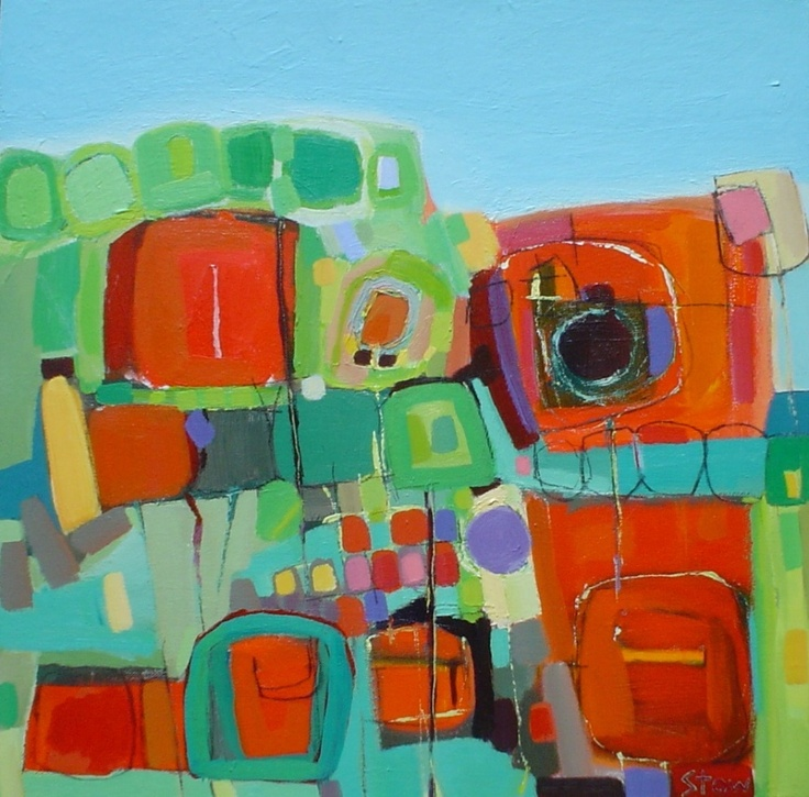 gs113 the allotment 60cm x 60cm SOLD  Stephanie Stow