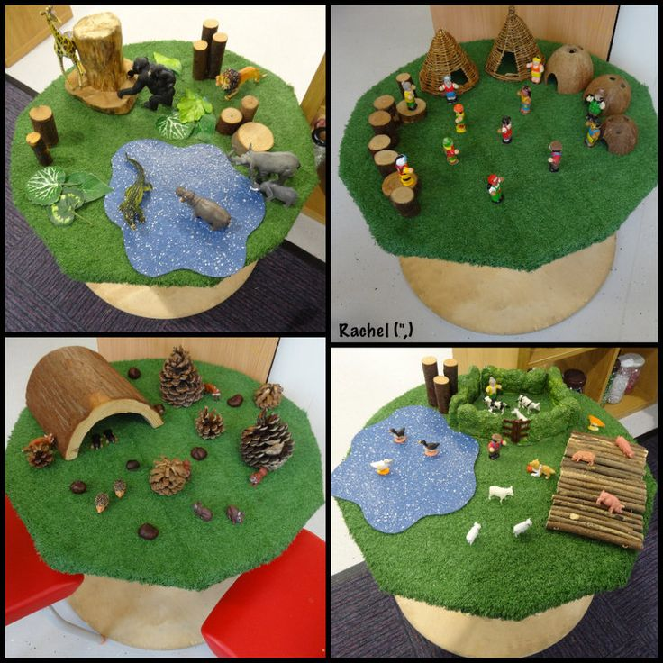 """Small world set-ups by the children, on the cable reel - from Rachel ("""",)"""