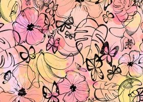Steph Calvert/Tropical Butterflies pattern for Simsotex represented by Liz Sanders Agency