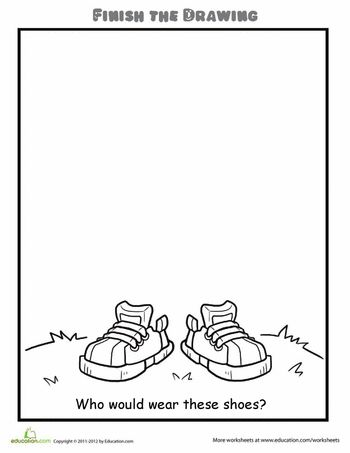 Worksheets: Finish the Drawing: Who Would Wear These Shoes?