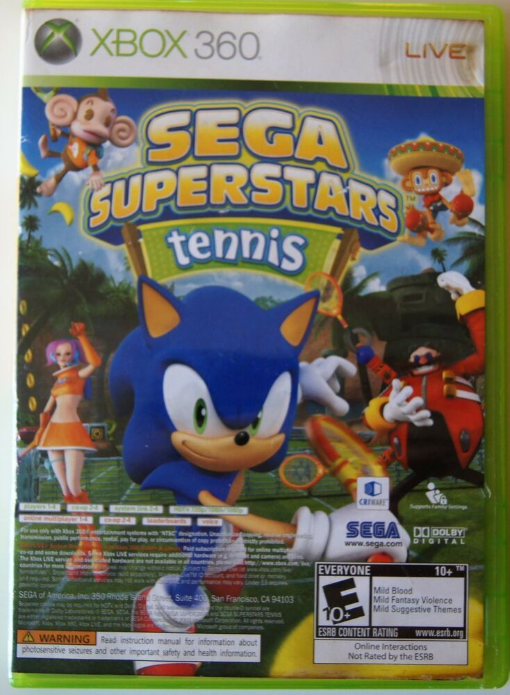 Sega Superstars Tennis Microsoft Xbox 360 2008 Xbox Live Arcade Sega Sega Video Games Live Xbox