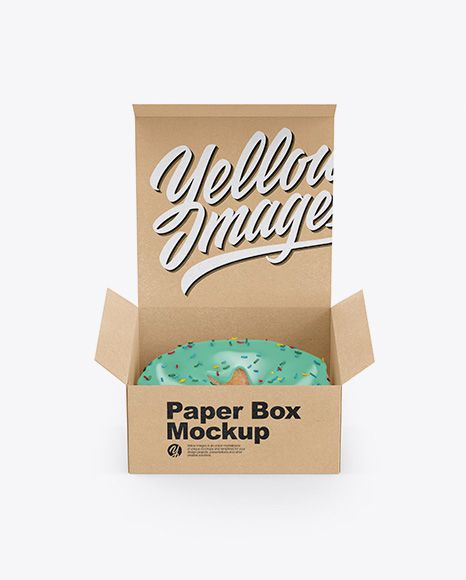 Download Free PSD Mockup Opened Kraft Box With Donut Mockup - Front ...