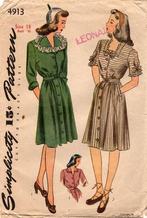 "Simplicity 4913. 1943 dress. Bust 36"". Original. Complete."