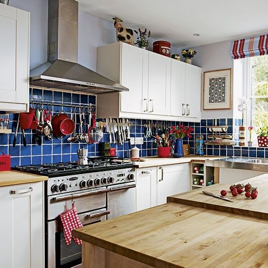 Blue tiled country-style kitchen   Decorating