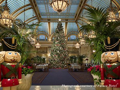 San Francisco's Palace Hotel, all decorated for the holidays.
