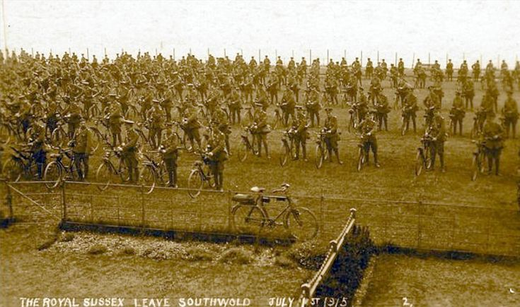 """WWI """"The Royal Sussex leave Southwold July 1st 1915""""                                                                                                                                                                                 More"""