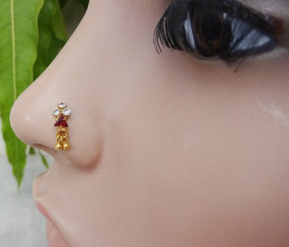 Gold Nose StudIndian Nose RingEthnic Nose by TheEthnicJewels