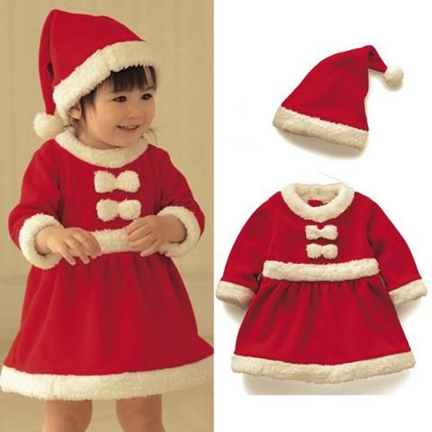 01c7701b0a Baby boys girls clothing set winter child Christmas costume 2018 new red  dresses +red hat 2pcs set warm clothes
