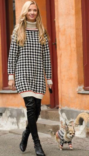 Få strikkeopskrift og vind garn til sweaterkjole | Skøn ternet kjole