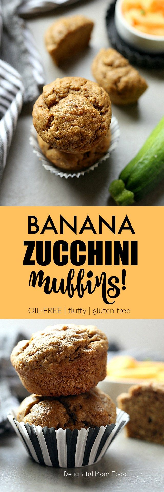 Best and healthy banana zucchini muffins! Gluten free, nut free, dairy free and no need to grate the zucchini. Just throw wet ingredients in the blender!