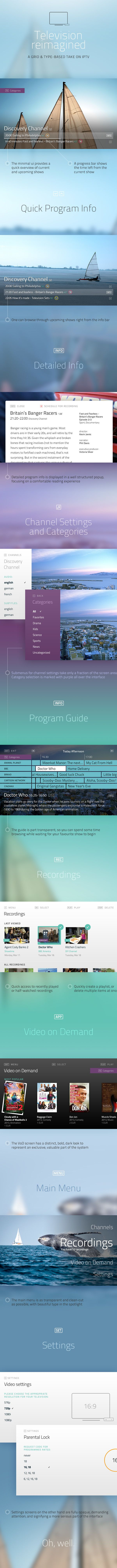 A grid and typography based Television UI by tone et type, via Behance