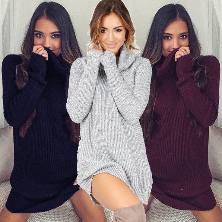 Womens Cowl Neck Loose Long Sleeve Oversize Sweater Jumper Shirt Tops Dress US #Unbrand #sweaterdress