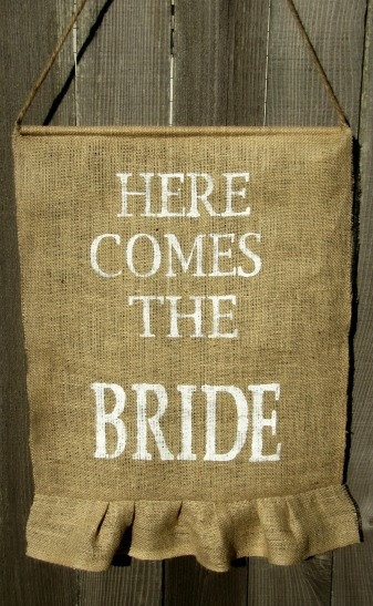 here comes the bride sweet burlap wedding banner with ruffle