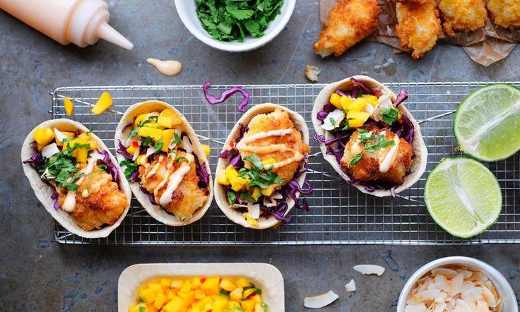 Fish tacos med hot mayo och mangosalsa