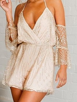 bd2384651572 Shop Golden Halter Plunge Open Back Flare Sleeve Chic Women Romper Playsuit  from choies.com .Free shipping Worldwide. 26.99