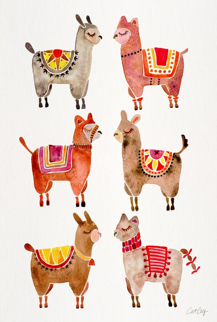 Alpacas Art Print | Cat Cotuillette.  so many great prints of greenery and fun subjects!