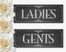 Restroom Printable Chalkboard Sign Ladies Gents Bathroom Signs Diy Instant Download