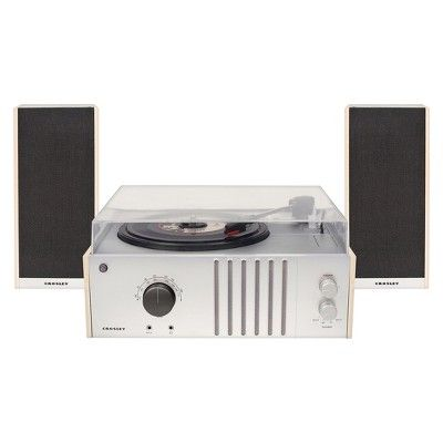 Crosley Radio Player Turntable Shelf System - Silver (CR6018A-NA)
