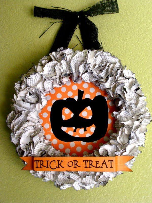 : Decor, Treats Wreaths, Paper Wreaths, Tricks Or Treats, Book Pages, Fall Wreaths, Halloween Wreaths, Halloween Ideas, Crafts