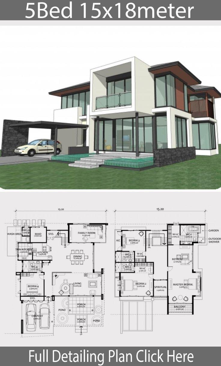Plan De Design De Maison 15x18m Avec 5 Chambres A Coucher Idees Maison Home Design Plan Maison Architecte Plan Architecture Maison Architecture De Maison