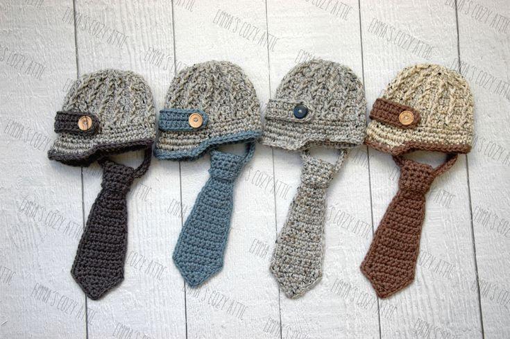 Newsboy hat and necktie, newborn baby boy newsboy hat, baby boy clothes, coming home outfit, newborn boy photo prop, crochet neck tie by emmascozyattic on Etsy