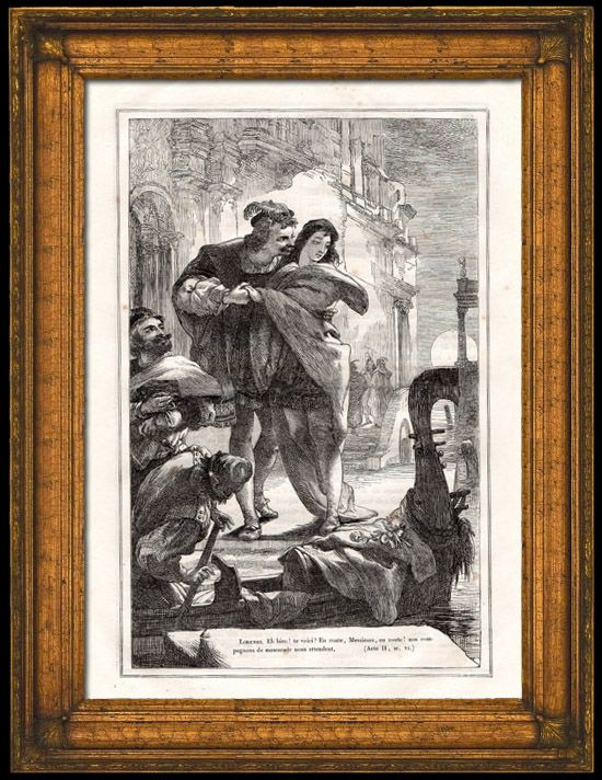 Act II scene viii Salarino: The Duke was given to understand/That in a gondola were seen together/Lorenzo and his amorous Jessica.