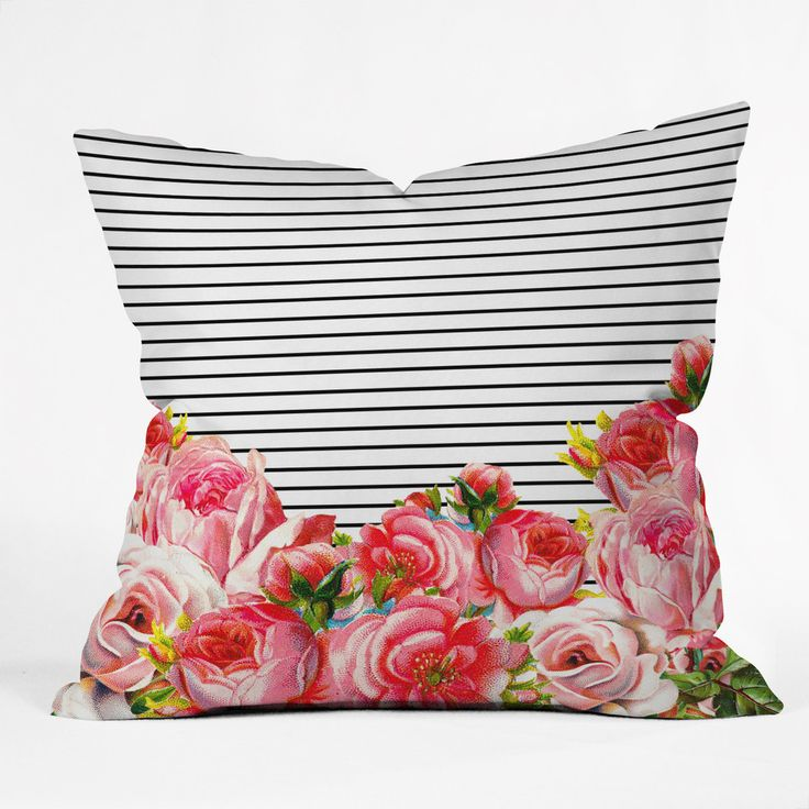 Allyson Johnson Bold Floral and stripes Throw Pillow | DENY Designs Home Accessories