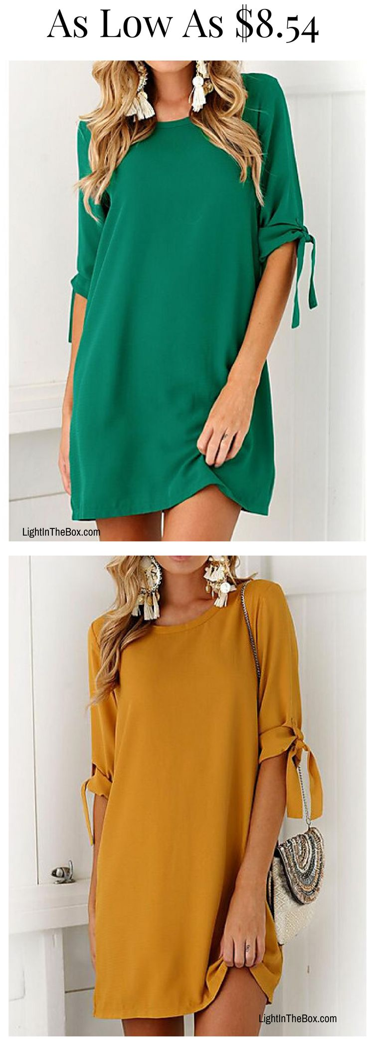 Elegant above knee casual women dress. Find it in green/ mustard yellow/ khaki/ black / purple at just $8.54. Click to shop. http://feedproxy.google.com/fashionshoes1