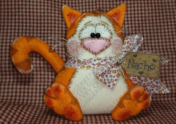 Nacho the Cat Pattern #125 - Primitive Doll/Ornie Pattern