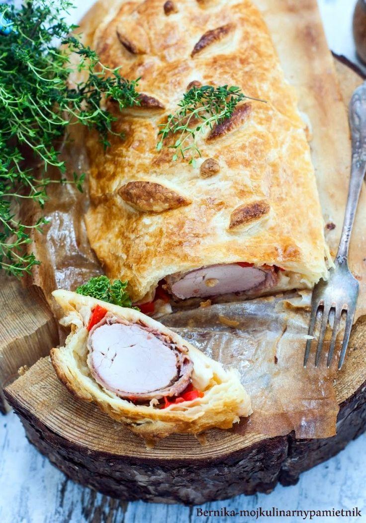 poledwica, poledwiczka wieprzowa, ciasto francuskie, poledwiczka w ciecie, bernika, wielkanoc, kulinarny pamietnik