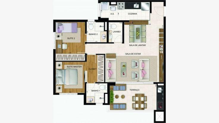 Apto de 86 m² - opção com o living ampliado, ficando com 2 suítes.