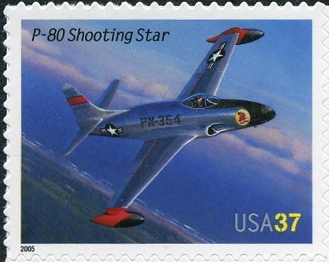 Stamp: P-80 Shooting Star (United States of America) (American Advances in Aviation) Mi:US 3949,Sn:US 3921,Yt:US 3677