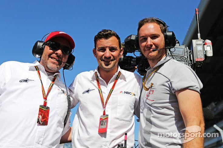 Jason Swales, NBC Sports Network with Will Buxton, NBC Sports Network TV Presenter and Alex Chiari, FOM Cameraman on the grid