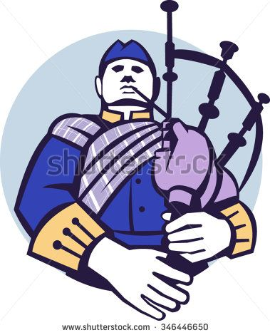 Illustration of a scotsman bagpiper player playing bagpipes viewed from front set inside circle on isolated background done in retro style.  - stock vector #Scotsman #retro #illustration