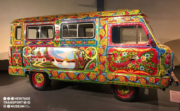 The Standard van decorated with the beautiful tribal truck art used on the trucks in India and Pakistan! 🚌  #tribalart #truckart #art #artist #tribaltruckart #vintagecars #vintagestyle #vintagecollection #heritage #transport #museum