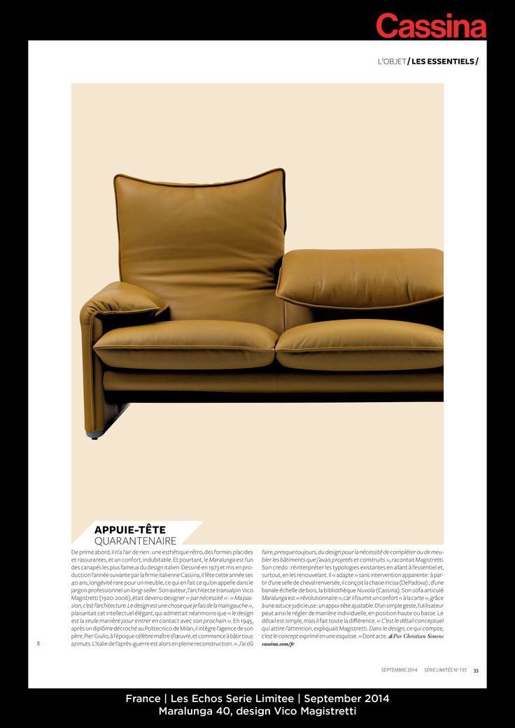 France | Les Echos Serie Limitee | September 2014 | Maralunga 40, design Vico Magistretti | Discover more on: http://cassina.com/it/collezione/poltrone-e-divani/675-maralunga-40