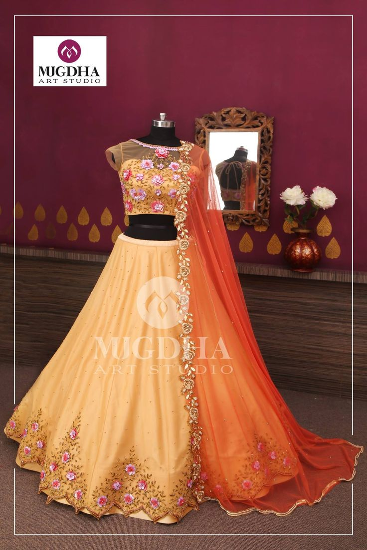 Gorgeous Lehenga in classy color and beautiful hand made design from the house of Mugdha Art Studio. They can customize the color and size as per your requirement. Product code-LHG 312To Order :WhatsApp: +91 8142029190 / 9010906544. 17 October 2017