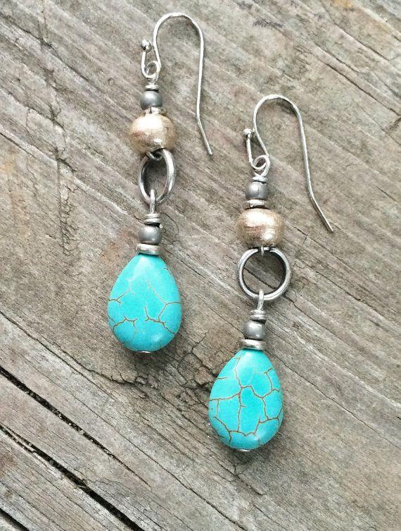 Turquoise silver drop earrings, boho jewelry, silver ethnic jewelry