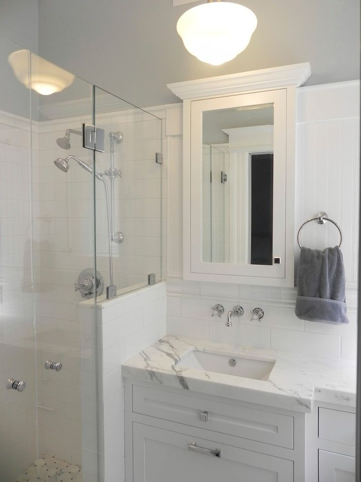 All White Small Master Bathroom With Cabinet Sink Mirror Of For