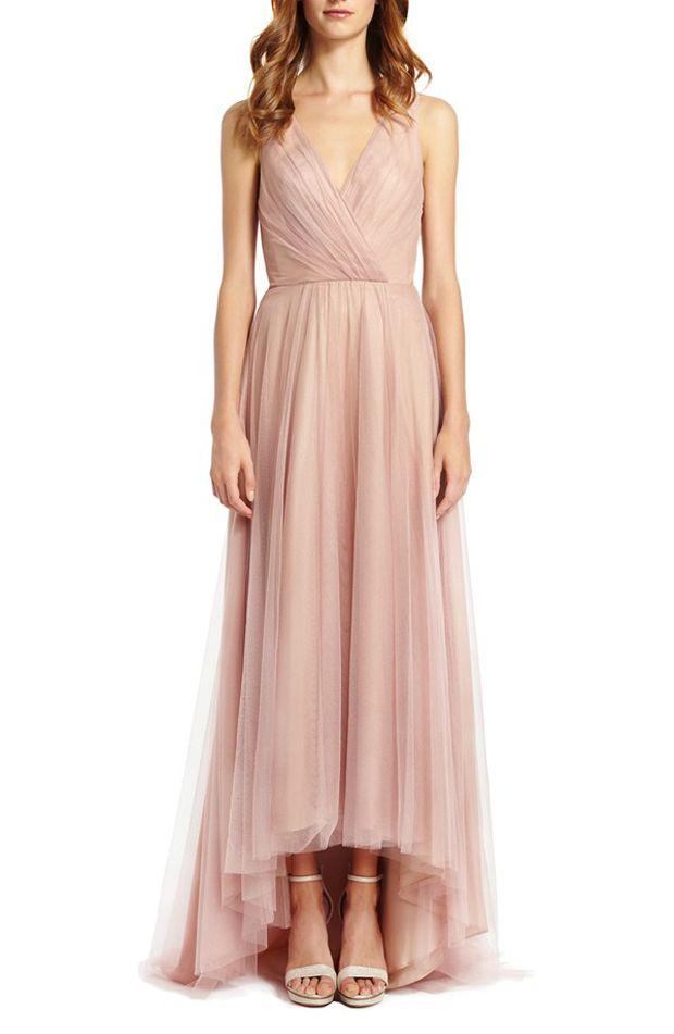 Blush bridesmaid dress by Monique Lhuillier