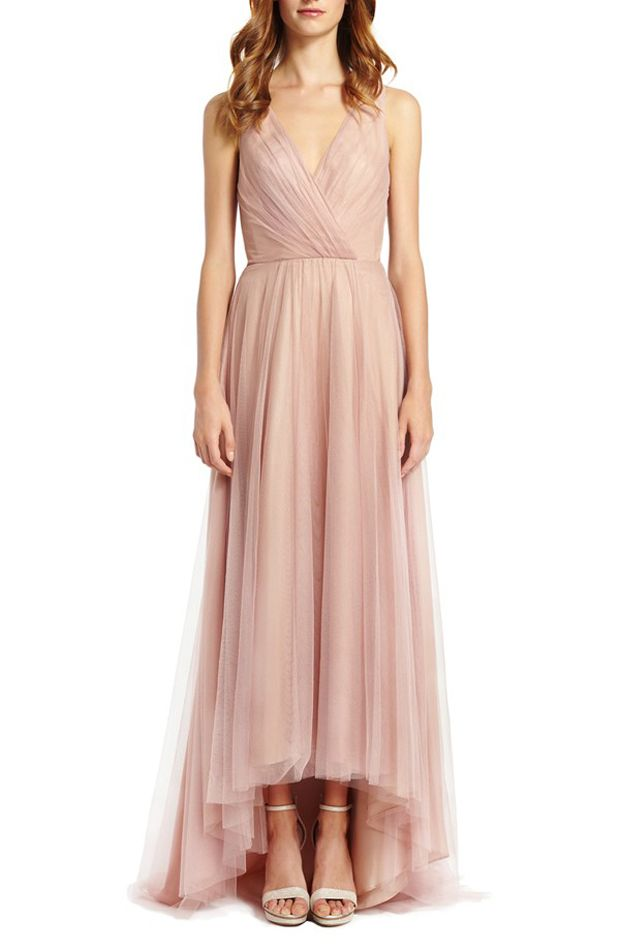 Blush bridesmaid dress by Monique Lhuillier