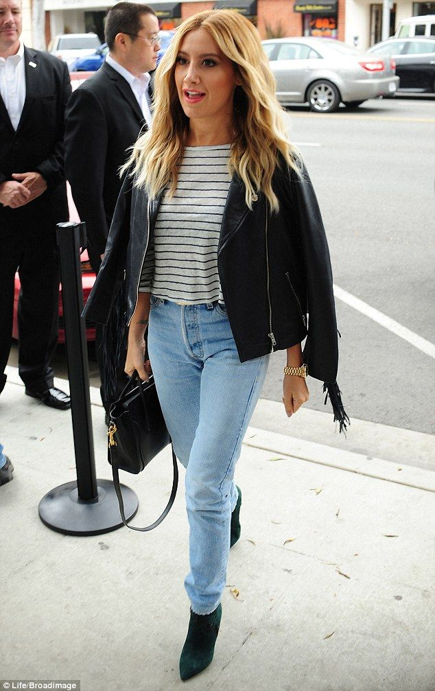 Glam: Ashley Tisdale cut a stylish figure as she teamed up with the rest of the cast of he...