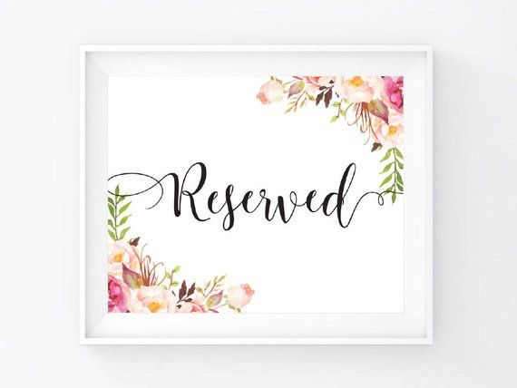 """Instant Download, Reserved Sign 8""""x10"""", Print Ready Wedding Sign, Wedding Decor Signage Template, Ch"""