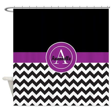 Black Purple Chevron Shower Curtain on CafePress.com #ad