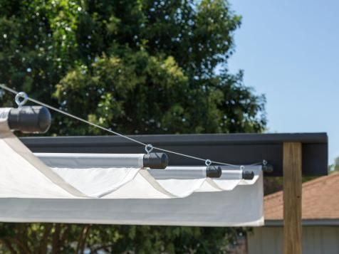 Control the shade by making your own retractable canopy. Open it up to create a shady retreat or close it to let the sun in.