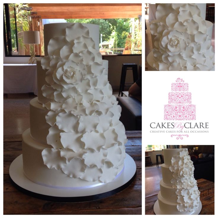 Open rose petal wedding cake delivered to the Bright Brewery.